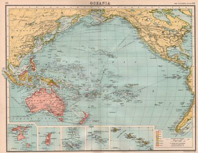PACIFIC OCEAN COLONIAL. British Dutch French German Portuguese Spanish 1898 map