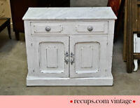 Commode Shabby Chic, blanche et grise, dessus marbre