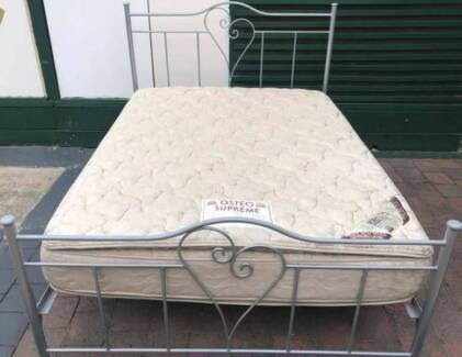 Excellent queen bed metal frame+double-sided Pillow Top mattress