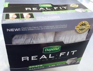 Unopened box Depend Real Fit briefs for men L/ XL