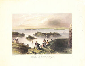 "Antique print ""View from the Citadel at Kingston"""