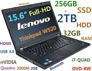 """3D-Design Thinkpad W520 i7-Quad (256GB SSD + 2TB) 32GB 15.6"""" NV"""