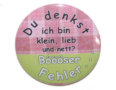 Button-groß-50mm-Anstecker-Pin-Spruch: Klein Lieb Nett