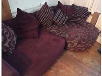 DFS Purple/Maroon and Grey Sofa