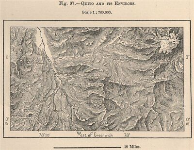 Quito and its environs. Ecuador 1885 old antique vintage map plan chart