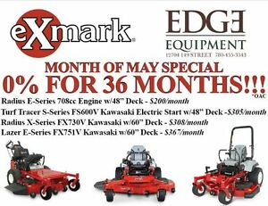 Exmark Zero Turn Commercial Lawn Mowers -0% Financing/36 Months!