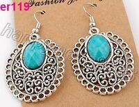 nice blue feature Tibetan silver earrings--NEW!!