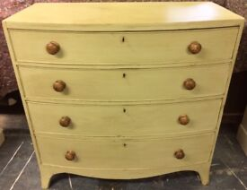 Hand Painted Early Victorian Bow Fronted Chest of Drawers