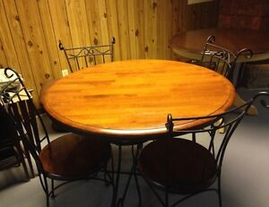 Wrought Iron Table with Solid Wood Top. $200 or Best Offer