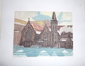 "Original Aquatint Nicholas Hornyansky ""Old St. Paul's, Toronto"""