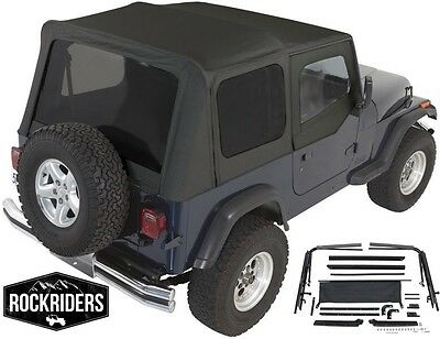 (1987-1995 Jeep Wrangler YJ Complete Soft Top with Hardware Kit in Black )