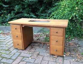 Vintage oak sewing machine table