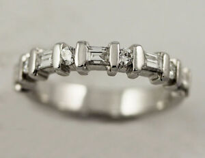 14k White Gold Diamond Band (round/baguette, 0.40/0.12) #261 Oakville / Halton Region Toronto (GTA) image 2