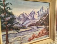 ORIGINAL SIGNED OIL PAINTING BY CANADIAN ARTIST M.WOODS(1930's)