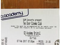 TWO DOOR CINEMA CLUB TICKET BRISTOL 02 7th February £55 ONO