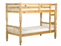 MILANO BUNK BED ANTIQUE PINE SPLITS INTO TWO SINGLE BEDS