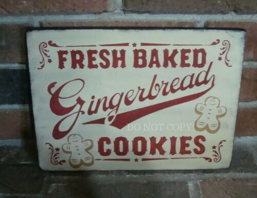 "PRIMITIVE STYLE GINGERBREAD COOKIES WOOD SIGN"" HP ANTIQUE WHITE"