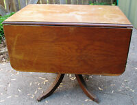 Duncan Phyfe Drop Leaf Table & Drawer 17 1/2 X 36 or 44 Inches