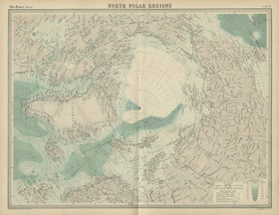 North Pole. Arctic Explorers' tracks Peary 1909. Nansen Cagni. TIMES 1922 map