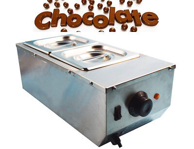 110v 2 Pan Well Bain Marie Chocolate Tempering Melter Water Heat Machine