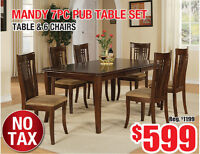 Mandy 7pc Dining Table Set, $599 Tax Included!