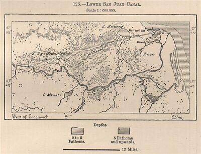 Lower San Juan Canal.Nicaragua Costa Rica.Greytown.San Juan del Norte 1885 map