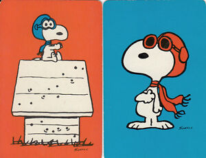 Vintage Swap / Playing Cards  2 single - SNOOPY , RED BLUE