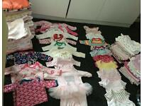 40 Baby grows and 56 vests cheap 0-3 months clothes girls newborn nappies