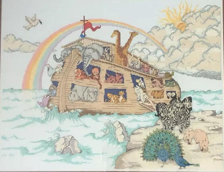 Noahs Ark Wall Art Needlepoint Cross Stitch Nursery 1995 Finished Unframed