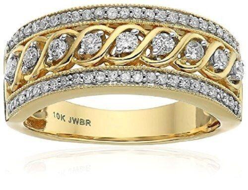 10K Yellow Gold Filled White Topaz Infinity Ring Wedding Wom