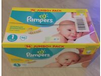 Brand New Pamper Nappies! Jumbo Packs size 1 and 2