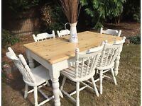 Farmhouse Pine Table & 6 Chairs