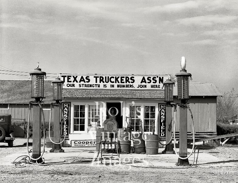 Texas Truckers Gas Service Station Photo  1920s Vintaget Cooper Mansfield Tires