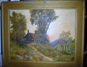 "Vintage Cabin on a Hill by G. Eastman ""Homestead"" Oil Painting"