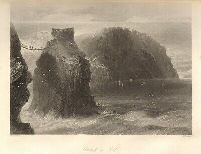 Carrick-a-Rede rope bridge, County Antrim. Ireland Ulster 1843 old (Carrick A Rede Rope Bridge County Antrim)
