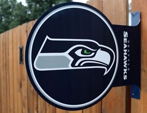 Seattle Seahawks Double Sided Metal Flange Sign (New)