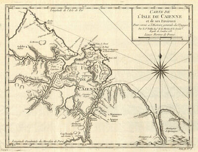 'Carte de I'Isle de Caienne'. Cayenne, French Guiana. Guyanas. BELLIN 1753 map