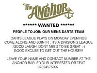 Darts team players needed
