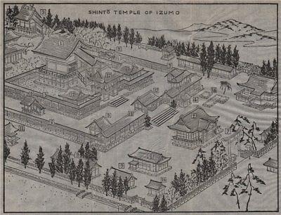 IZUMO-TAISHA. Bird's eye view of the Shinto temple. Japan. MURRAY 1901 old map