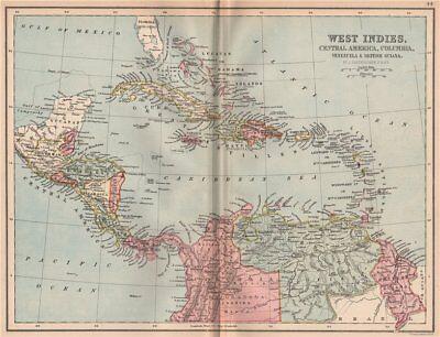 CARIBBEAN. West Indies Cent. America Columbia Venezuela British Guiana 1878 map
