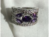 CHUNKY WHITE GOLD FILLED PURPLE RING Sz 6/N