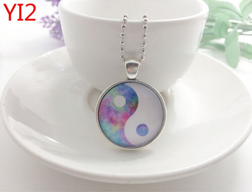 Silver Yin and yang Jewelry Necklace Glass Dome Pendant