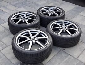 "Aston Martin Vantage V8 19"" Shadow Chrome Staggered Alloy Wheels with Bridgestone Tyres"