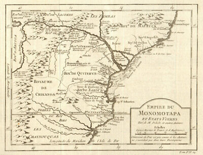 'Empire de Monomotapa'. Mutapa Empire. Mozambique Kruger Park. BELLIN 1748 map