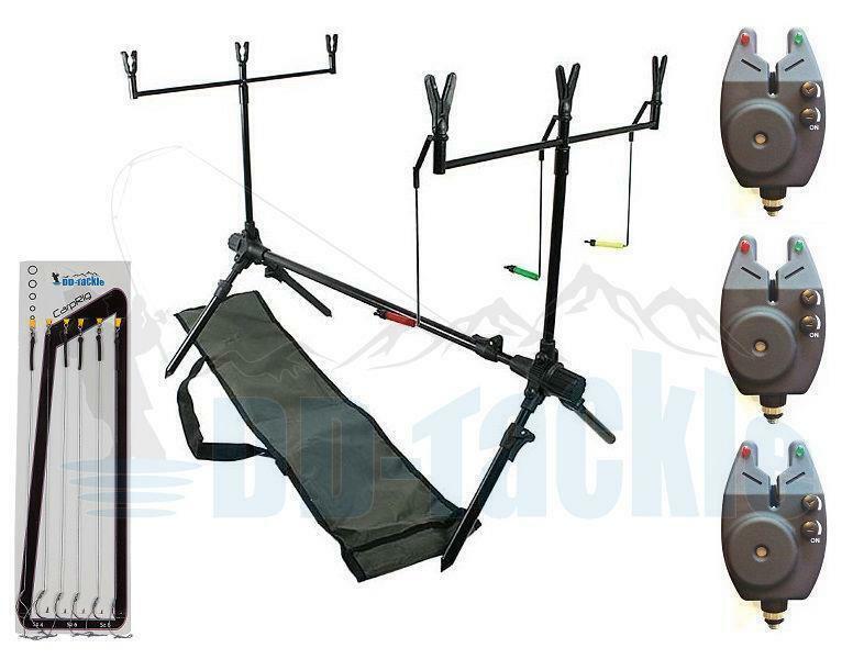 Karpfen Rod Pod 3 Bissanzeiger 2 Buzzer Bar 6 Rutenhalter Auflagen Tasche Haken