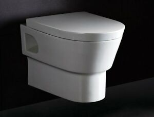 Modern Wall Mounted Dual Flush Ceramic Toilet, White NEW