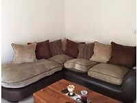SCS Brown and Beige Corner Sofa