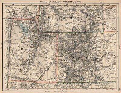 Mountain States Utah (USA MOUNTAIN STATES.Utah,Colorado & South Wyoming.Railroads.JOHNSTON 1906 map)