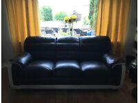Leather 2x3 seater sofa