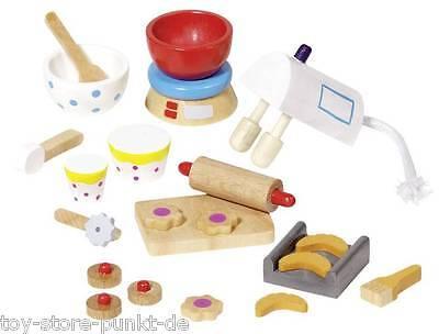 """Goki Accessoires Miniaturen """"Backen"""" Holz 22 Teile für Puppenhaus-Küche # 51851"""